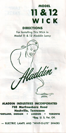 Aladdin model 11 wick instructions cover
