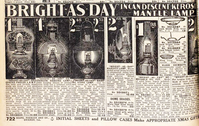 Bright As Day lamp listng in 1912 Sears catalog