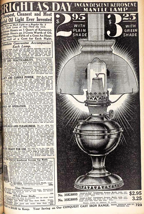 Bright as Day lamp in 1912 Sears Catalog
